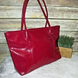 Wilsons Leather Red Patent Leather Large Tote Bag